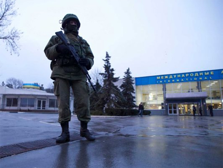 Ukraine crisis: Armed men block two airports, Russia denies involvement