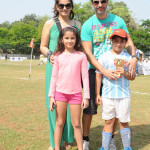 Actress Raveena Tandon, who will be soon seen in 'Bombay Velvet', was spotted with her husband Anil Thadani cheering for their kids - Rasha and Ranbir at the Junior Football Championship League (JFC) in Mumbai on Monday (March 31).