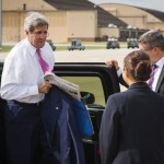 U.S. Secretary of State Kerry arrives to board a plane to New Delhi