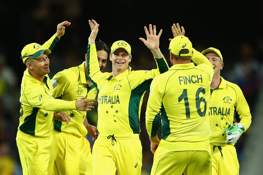 during the 2015 Cricket World Cup Semi Final match between Australia and India at Sydney Cricket Ground on March 26, 2015 in Sydney, Australia.